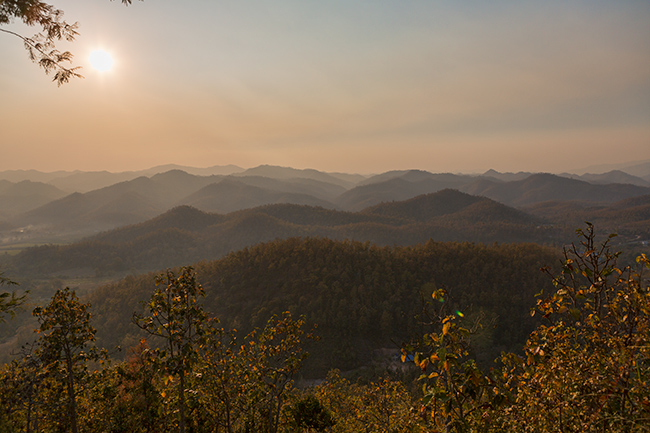 Sunset over the Shan Mountains