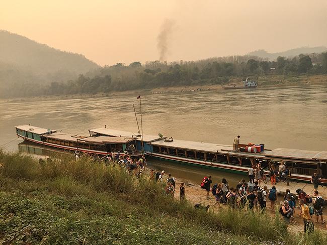 Boat stop outside of Luang Prabang