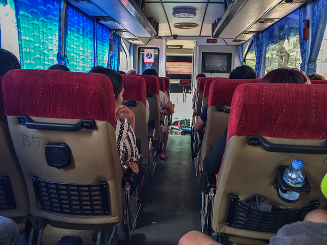 Inside the Border Bus Thailand Laos