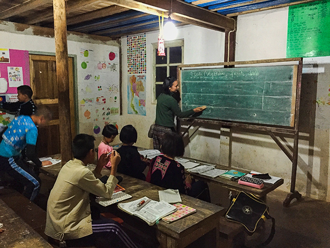 Teaching at the homestay