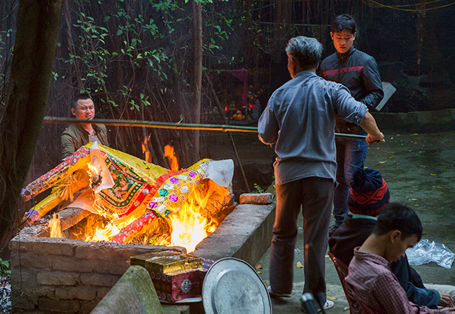 Offerings get burned at the temple