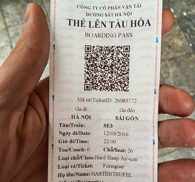 My train ticket to Saigon