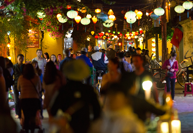 The streets of the Old Quarter in Hoi An - crowded