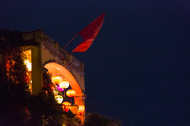 They are like the Swiss - fly the flag everywhere. Here above the terrace of a restaurant