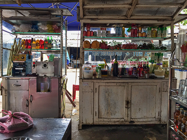 View from the table. On the left the sugar cane juice maker