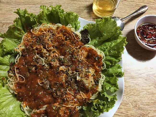 Dinner in A Luoi - Special Vietnamese Spaghetti