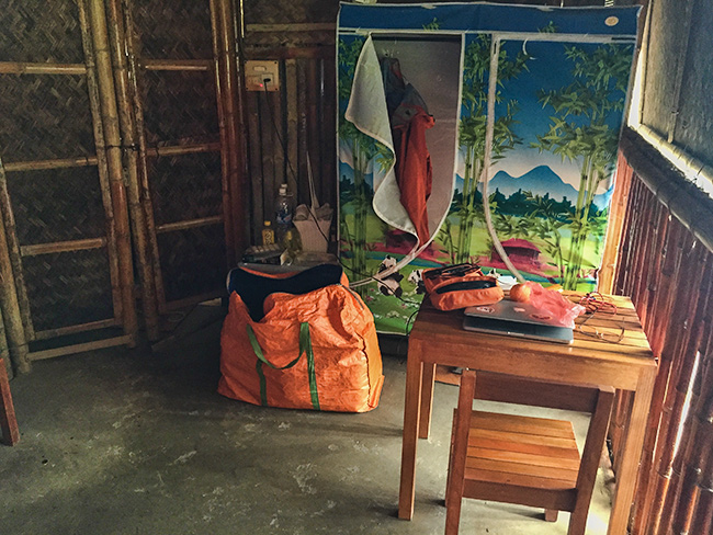 Table, chair, fridge and closet