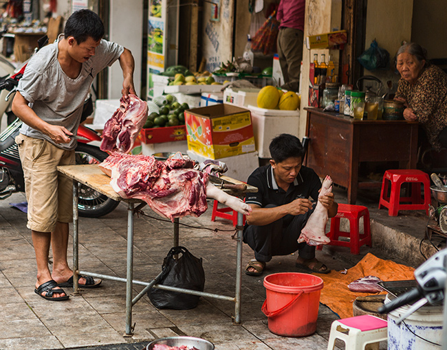 The local butcher at work